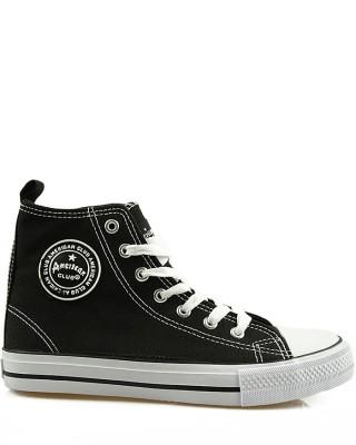 Czarne trampki męskie, sneakersy za kostkę, AK 9120-10