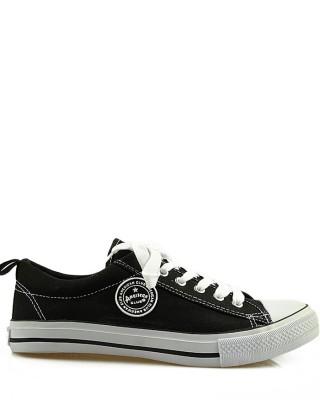Czarne trampki męskie, sneakersy do kostki, AK 9120