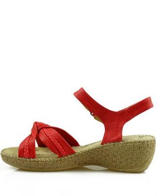 Czerwone sandały damskie na koturnie, 6810-83626, American