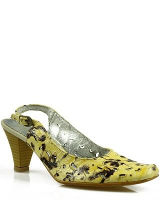 Czółenka damskie, skórzane, z odkrytą piętą, beżowo-żółte, Kazkobut