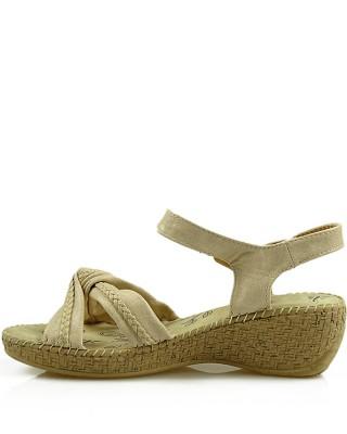Beżowe sandały damskie na koturnie, 6810-83626, American