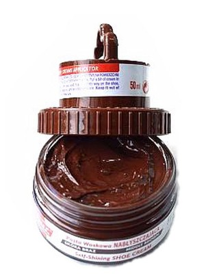 Brązowa pasta woskowa, nabłyszczająca, 2 w 1, Shoe Cream, Palc