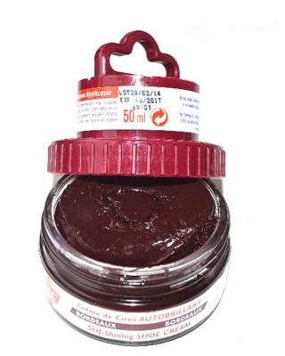 Bordowa pasta woskowa, nabłyszczająca, 2 w 1, Shoe Cream, Palc