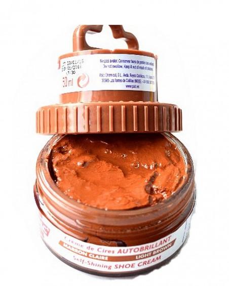 Jasnobrązowa pasta woskowa, nabłyszczająca, 2 w 1, Shoe Cream, Palc