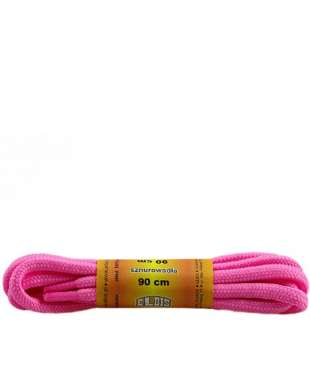 Różowe, poliestrowe, sznurówki do butów, okrągłe grube 90 cm