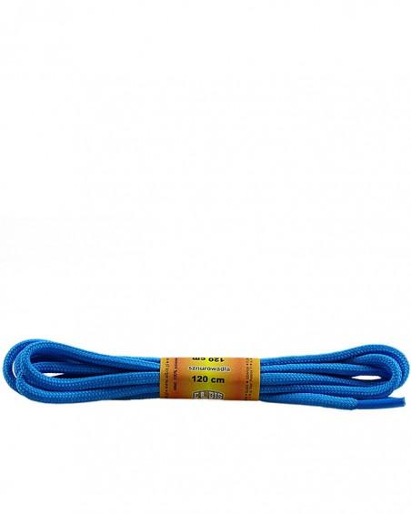 Niebieskie, poliestrowe, sznurówki do butów, okrągłe grube 120 cm