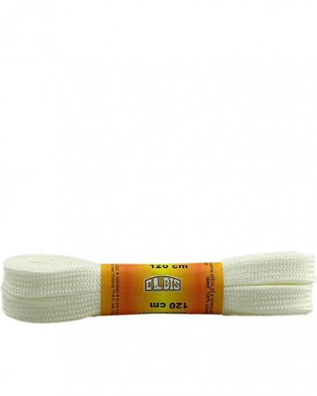 Białe sznurówki do butów, poliestrowe, płaskie, 120 cm