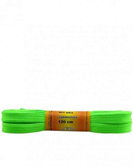 Zielone, jaskrawe, sznurówki do butów, poliestrowe, płaskie, 120 cm
