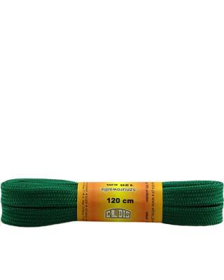 Zielone, sznurówki do butów, poliestrowe, płaskie, 120 cm