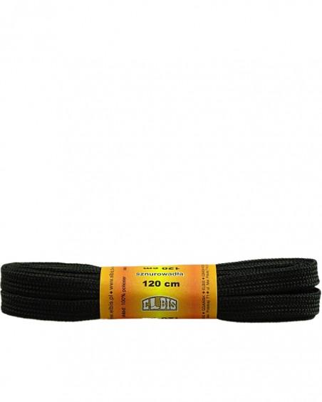 Czarne, sznurówki do butów, poliestrowe, płaskie, 120 cm