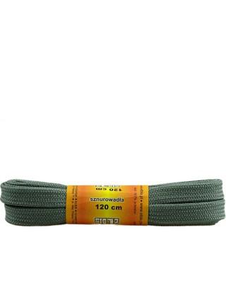 Szare, sznurówki do butów, poliestrowe, płaskie, 120 cm