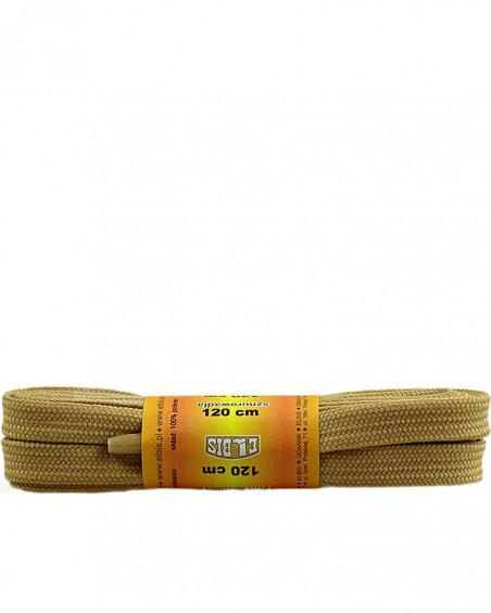 Beżowe, sznurówki do butów, poliestrowe, płaskie, 120 cm
