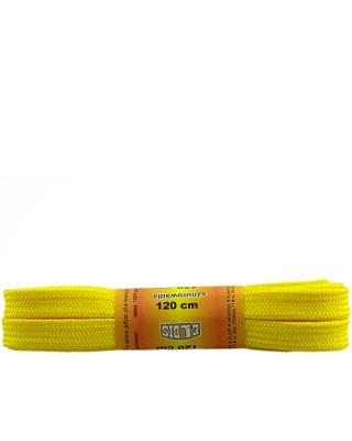 Żółte, sznurówki do butów, poliestrowe, płaskie, 120 cm