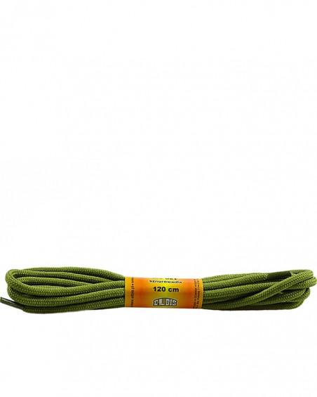 Oliwkowe, poliestrowe, sznurówki do butów, okrągłe grube 120 cm