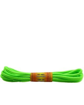 Zielone, jaskrawe, poliestrowe, sznurówki do butów, okrągłe grube 120 cm