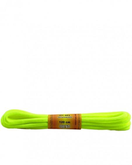 Żółte, jaskrawe, poliestrowe, sznurówki do butów, okrągłe grube 120 cm