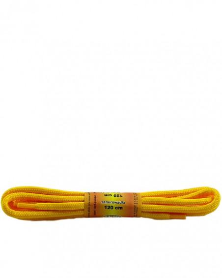 Żółte, poliestrowe, sznurówki do butów, okrągłe grube 120 cm