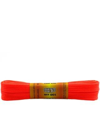 Pomarańczowe, jaskrawe, poliestrowe, płaskie sznurówki do butów, 100 cm