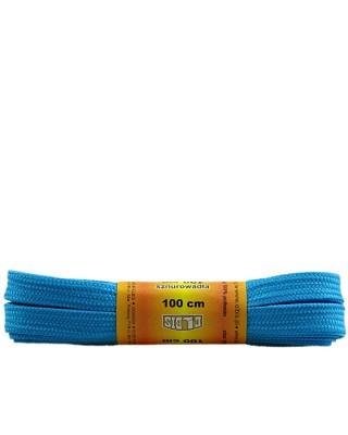 Jasnoniebieskie, poliestrowe, płaskie sznurówki do butów, 100 cm
