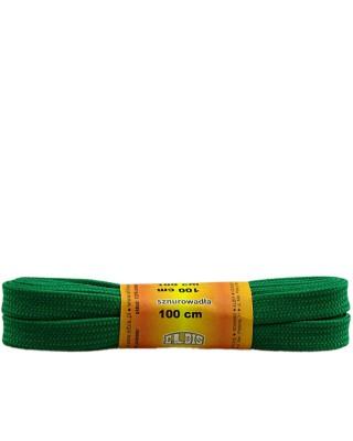 Zielone, poliestrowe, płaskie sznurówki do butów, 100 cm