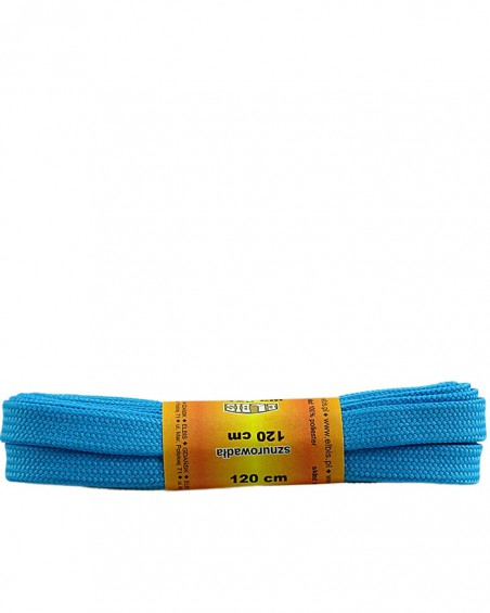 Jasnoniebieskie, sznurówki do butów, poliestrowe, płaskie, 120 cm