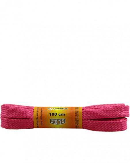 Różowe, poliestrowe, płaskie sznurówki do butów, 100 cm