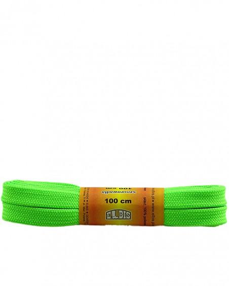 Zielone, jaskrawe, poliestrowe, płaskie sznurówki do butów, 100 cm