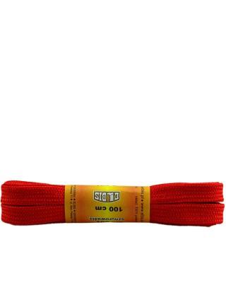 Czerwone, poliestrowe, płaskie sznurówki do butów, 100 cm