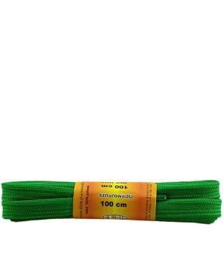 Jasnozielone, poliestrowe, płaskie sznurówki do butów, 100 cm