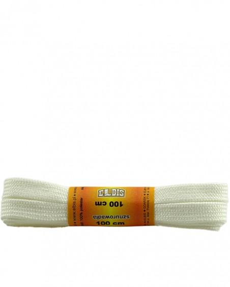 Białe, poliestrowe, płaskie sznurówki do butów, 100 cm
