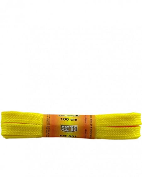 Żółte, poliestrowe, płaskie sznurówki do butów, 100 cm