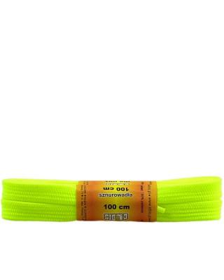 Żółte, jaskrawe, poliestrowe, płaskie sznurówki do butów, 100 cm