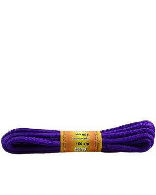 Fioletowe, poliestrowe, sznurówki do butów, okrągłe grube 150 cm