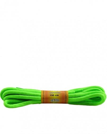 Zielone, jaskrawe, poliestrowe, sznurówki do butów, okrągłe grube 150 cm