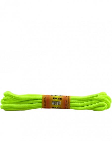 Żółte, jaskrawe, poliestrowe, sznurówki do butów, okrągłe grube 150 cm