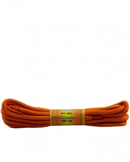 Pomarańczowe, poliestrowe, sznurówki do butów, okrągłe grube 150 cm