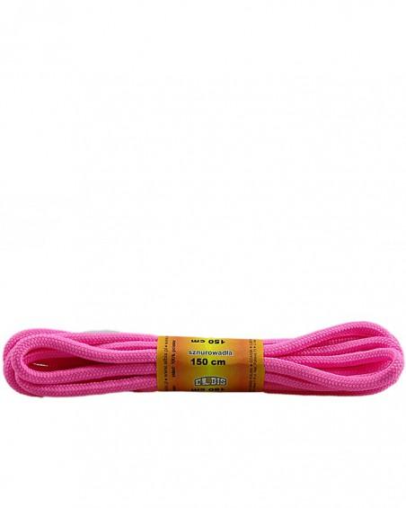 Różowe, poliestrowe, sznurówki do butów, okrągłe grube 150 cm
