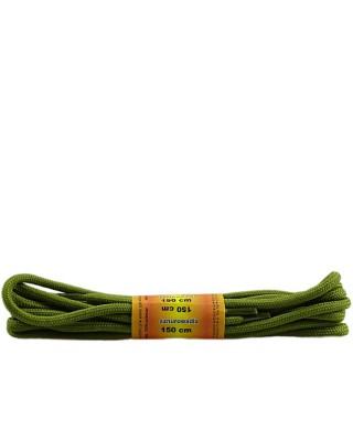 Oliwkowe, poliestrowe, sznurówki do butów, okrągłe grube 150 cm