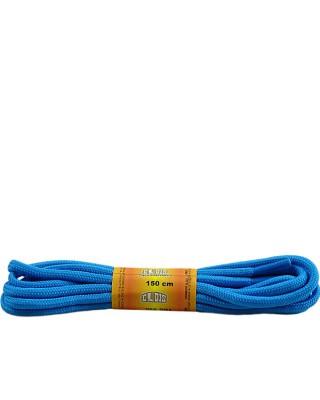 Niebieskie, poliestrowe, sznurówki do butów, okrągłe grube 150 cm