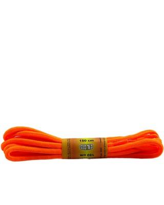 Pomarańczowe, jaskrawe, poliestrowe, sznurówki do butów, okrągłe grube 150 cm