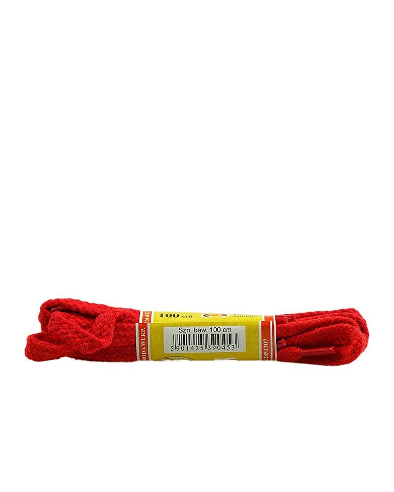 Czerwone, sznurówki do butów, płaskie, 100 cm, Mazbit