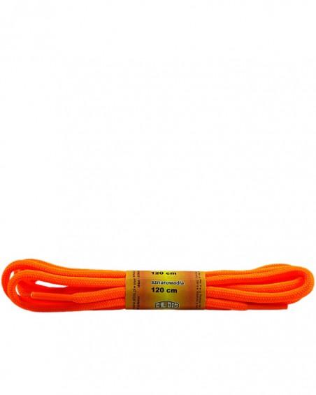 Pomarańczowe, jaskrawe, poliestrowe, sznurówki do butów, okrągłe grube 120 cm