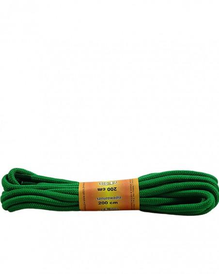 Zielone, poliestrowe, okrągłe sznurówki do butów, 200 cm