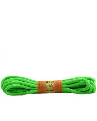 Zielone, jaskrawe, poliestrowe, okrągłe sznurówki do butów, 200 cm