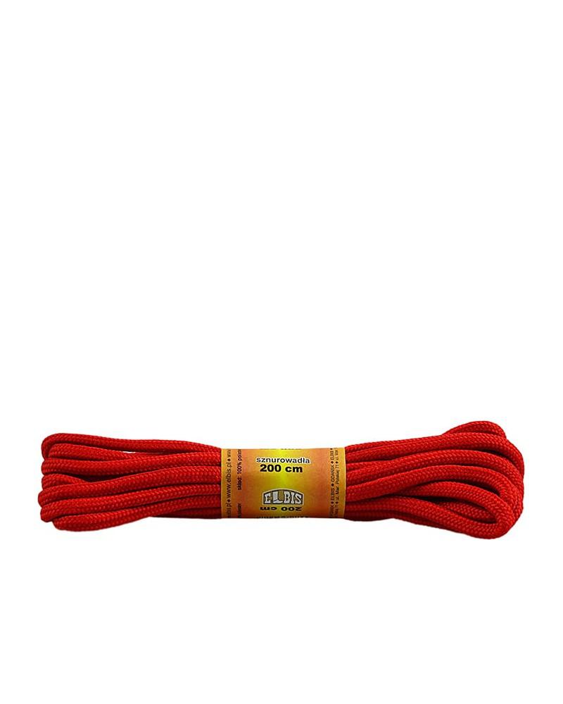 Czerwone, poliestrowe, okrągłe sznurówki do butów, 200 cm