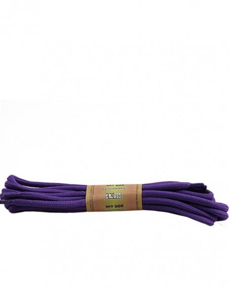 Fioletowe, poliestrowe, okrągłe sznurówki do butów, 200 cm
