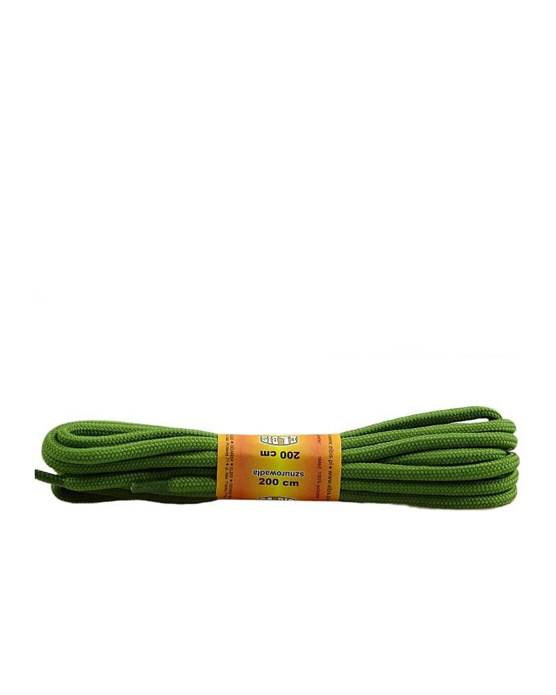 Oliwkowe, poliestrowe, okrągłe sznurówki do butów, 200 cm