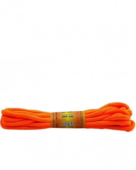 Pomarańczowe, jaskrawe, poliestrowe, okrągłe sznurówki do butów, 200 cm