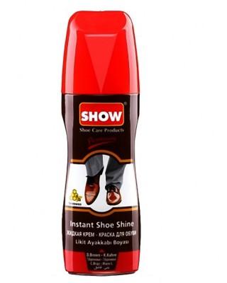 Ciemnobrązowa pasta w płynie do butów, samo połyskowa, Show, 75 ml