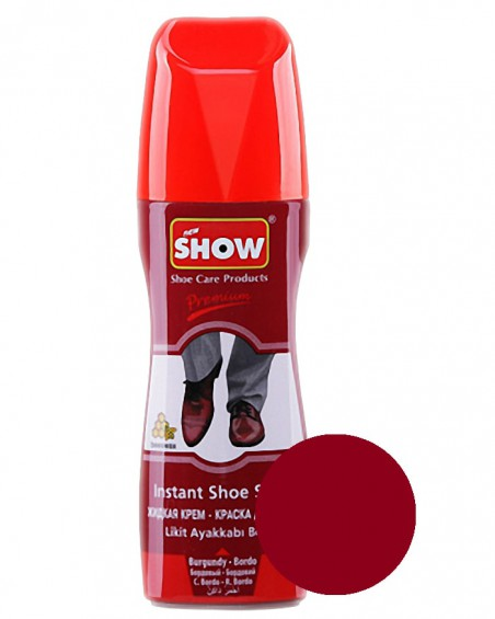 Bordowa pasta w płynie do butów, samo połyskowa, Show, 75 ml